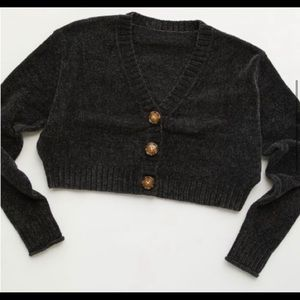 Urban outfitters Cropped Chenille Sweater Cardigan